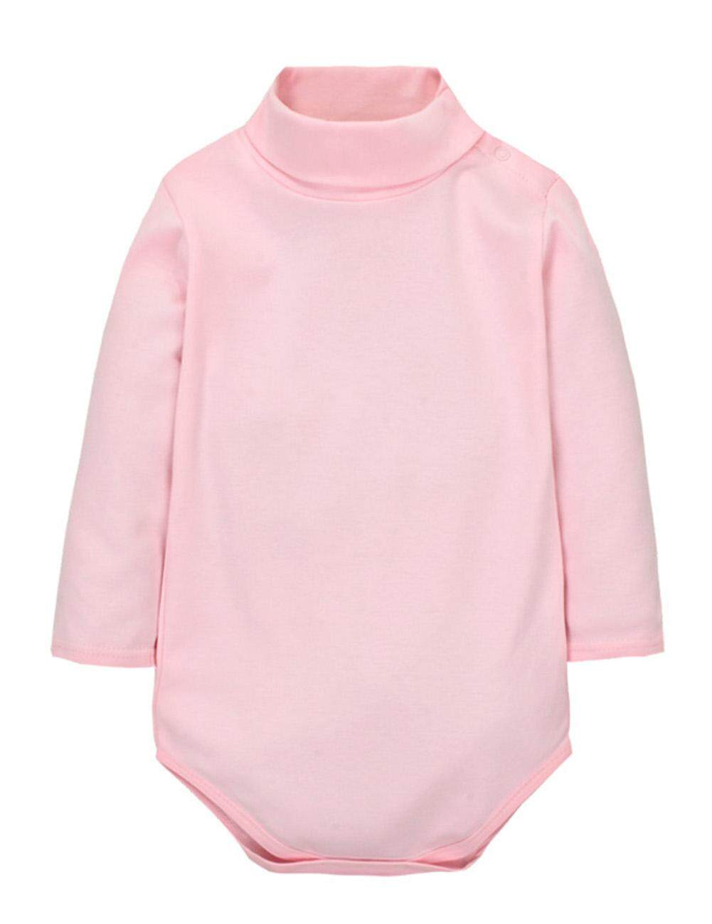 Rd Newborn Baby Soft Cotton Romper Toddler Boys Girls Bodysuit Cute Solid Color High Neck Clothes 【24m Recommended Height 85-90cm】 By Redcolourful.