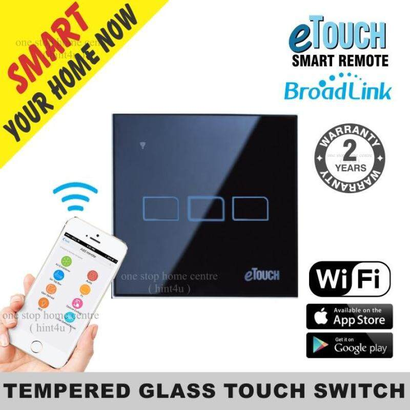 E touch BroadLink 3 Gang  Tembered Glass Touch Switch Smart Home Control