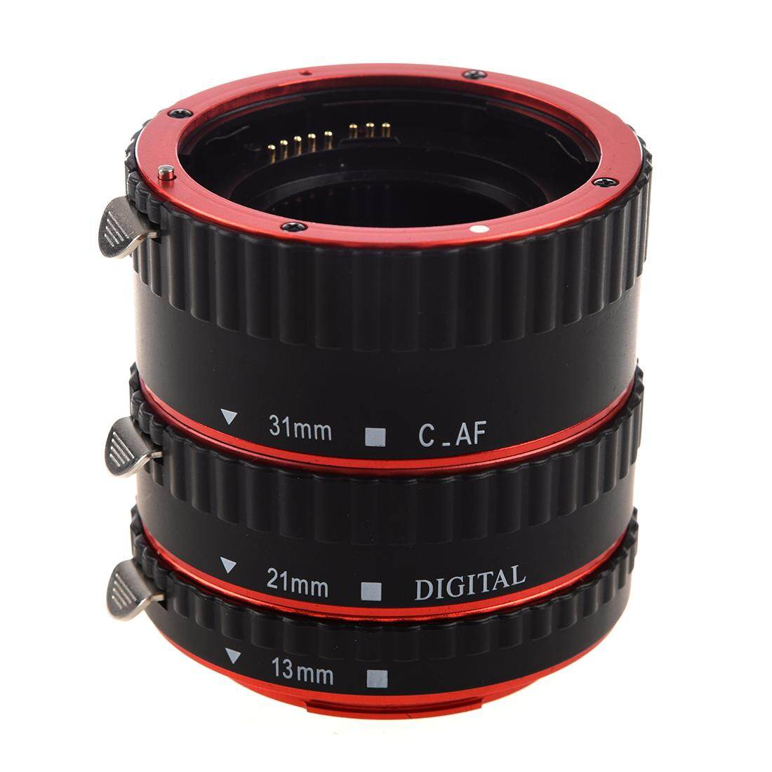 Colorful Metal TTL & Autofocus AF Macro Extension Tube Ring for all Canon EF and EF-S lenses Canon EOS EF EF-S 60D 7D 5D II 550D (Red and black)