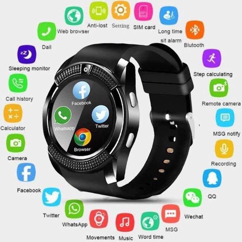 M_home V8 Tahan Air Jam Tangan Pintar Bluetooth dengan Kamera Smartwatch Gelang Kebugaran Keren Smart Watch Clock dengan SIM TF Ponsel Watch
