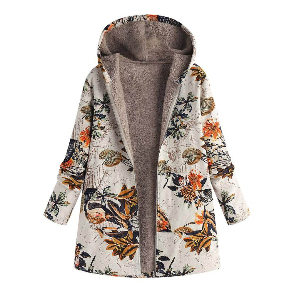 9af0b27bec dreambeautry store Womens Winter Warm Outwear Floral Print Hooded Pockets  Vintage Oversize Coats