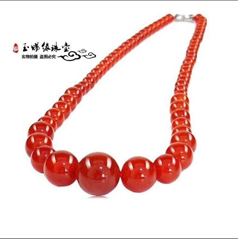 Mode Untuk Wanita Merah Kalung Batu Akik 6-14 Mm Manik Rantai Menara Natural Natural Jade Perhiasan Batu Pesona Populer By Very-Fashion.