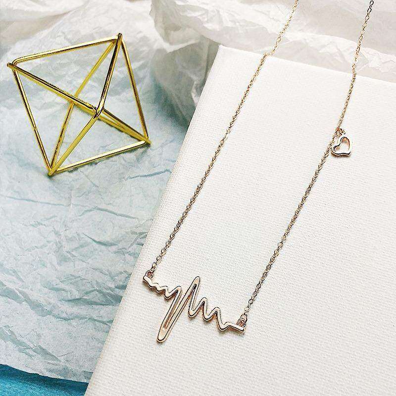[passion pulse necklace gold] Korean version of the simple neck jewelry necklace female net red student neck clavicle chain Korea creative hipster neck chain