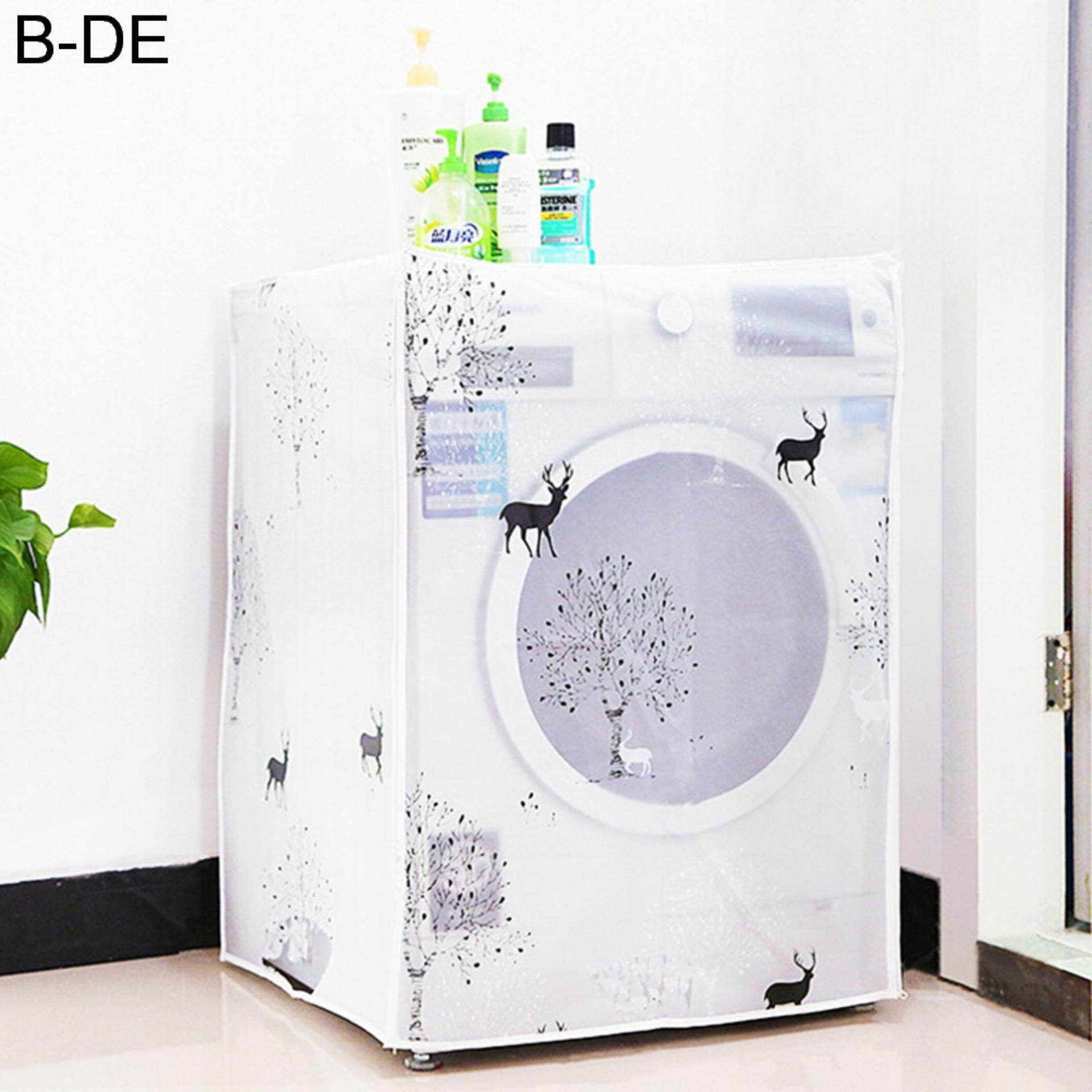 Waterproof Washing Machine Zippered Top Dust Cover Protection Top /Front Cover Deer TypeB - intl