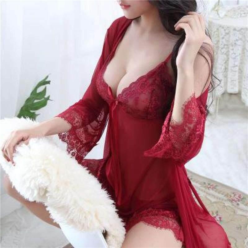 4181952e245 3 Piece Wanita Jaring Spandek-Renda Piyama Punggung Terbuka Gaun Merah Muda  dan Biru Baju Tidur Gaun Lingerie Pakaian Rumah