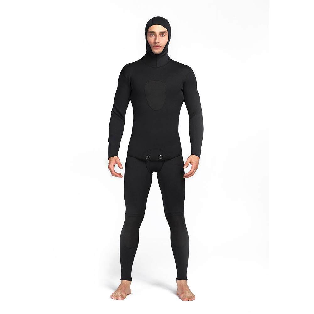 Pria 3 Mm Menyelam Neoprene Anti-air Baju Tebal Long John dan Jaket dengan  Tudung 94bd20e25b