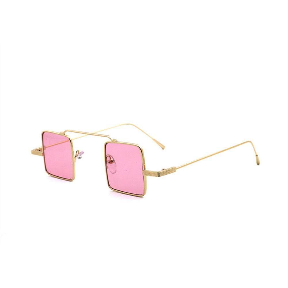 Qimiao Retro Kecil Bingkai Persegi Kacamata Hitam Reflektif Lensa Berwarna Sun Glass Bergaya Dekorasi Warna Lensa