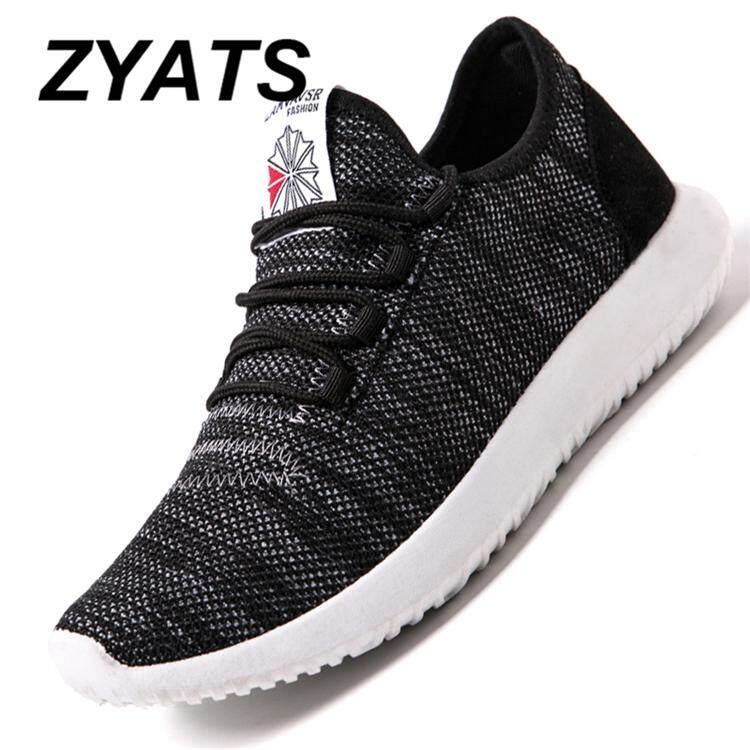 Zyats Sneaker Menyerap Keringat Tali Graffiti Sepatu Kasual Pria Jaring-jaring Musim Panas Sepatu