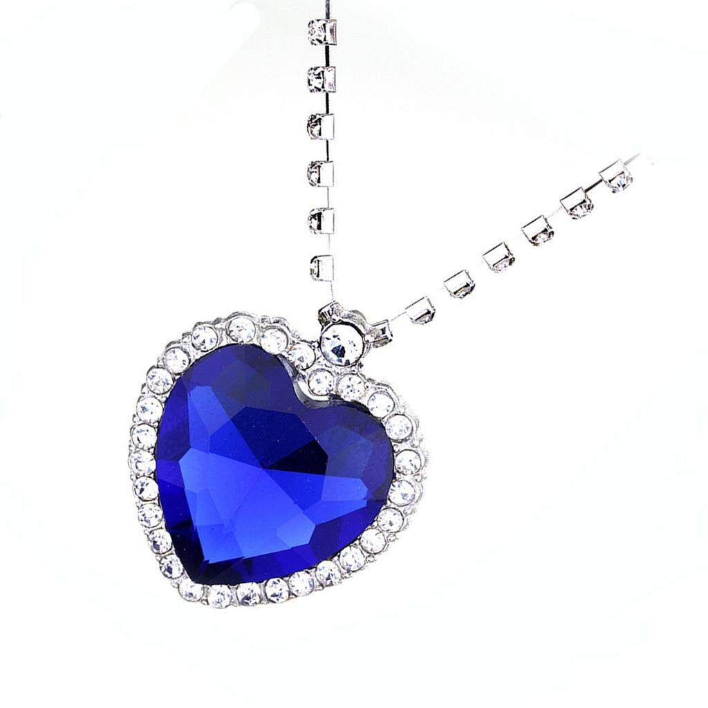 ... GuangquanStrade Metal Crystal Sapphire Pendant Necklace Titanic Heart Of The Ocean Necklace - 4 ...