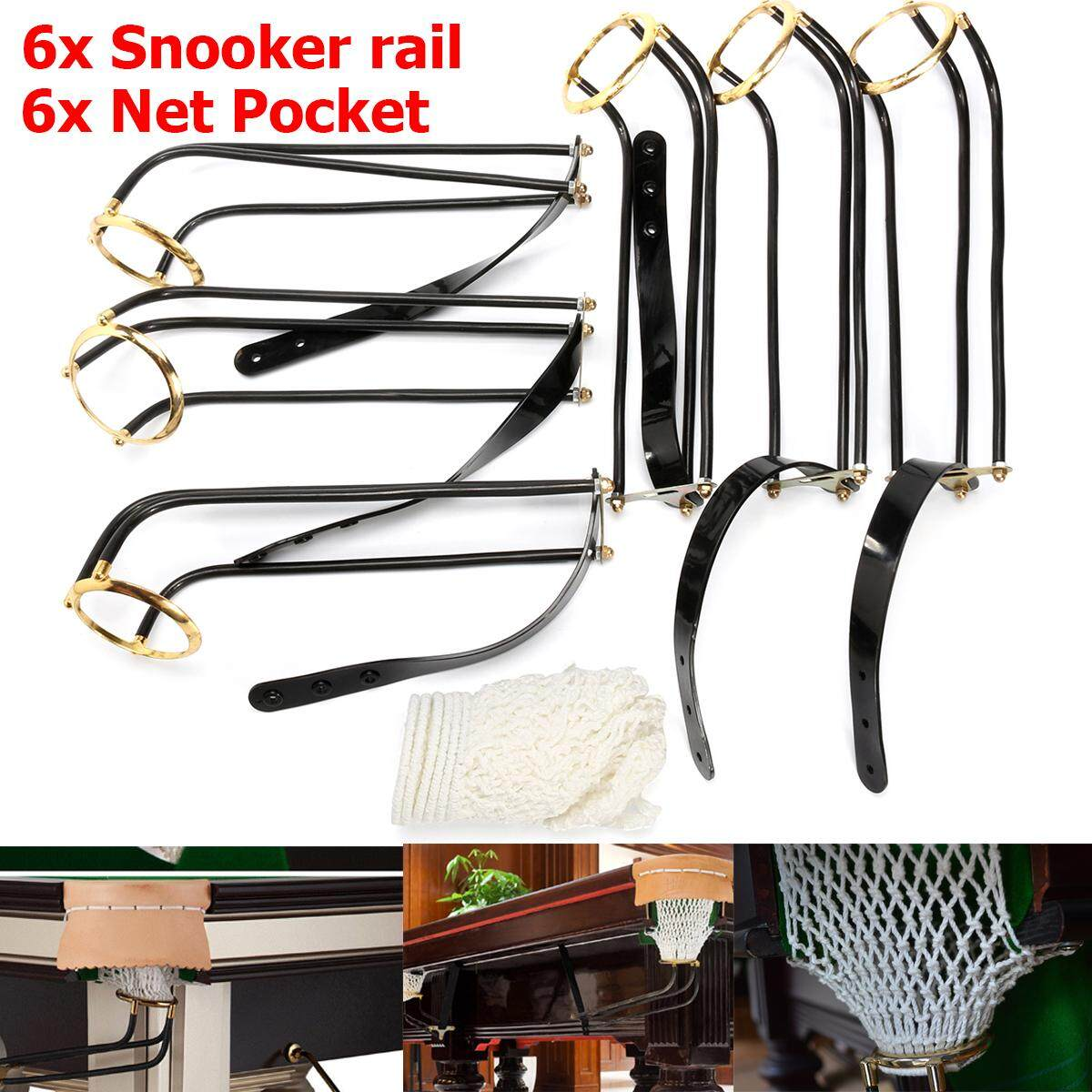 6PCS Standard Pool Snooker Billiard Table Solid Brass Empire Rail Net Pockets