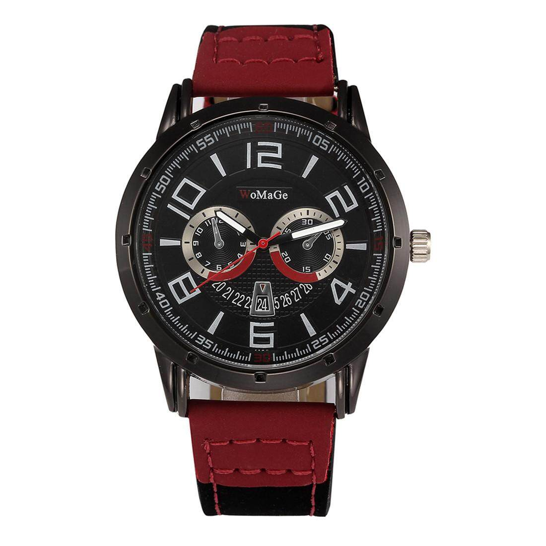 WoMaGe Male Ladies General Fashion Fake Two Eyes Red Second Hand Quartz Watch Red Belt Black