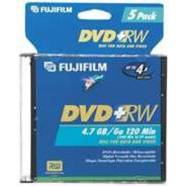 Blank Media Fujifilm Media 25322075 DVD+RW 4.7GB 120 Mintes Disc 4X Jewel Storage Media - 5 Pack (Discontinued by Manufacturer) - intl