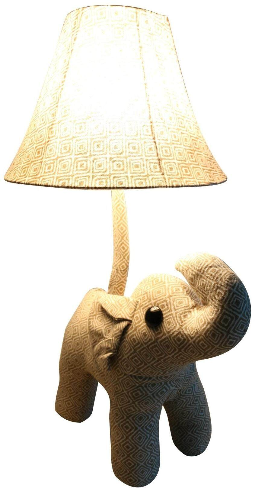 Stuffed Animal Elephant Table Lamp for Kids Safety Children Bedroom Game Room House Decoration (Brown Version, E27 Light Bulb Compatible, 40W)