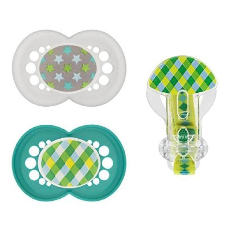 MAM Trends Orthodontic Pacifier with Clip Value Pack, Boy, 6+ Months, 2-Count Singapore