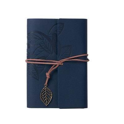 Vintage Leaf Leather Cover Journal Notebook(Dark Blue)