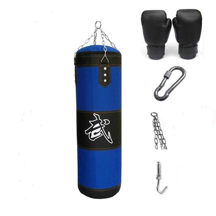 Boxing Bag Set Empty Heavy Punching Training Bag Fitness Sand Bag With Gloves And Hook Buckle Chains 80cm By Taopanda.