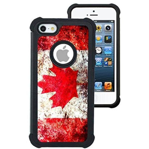 Sarung Telepn Seluler Corp Case Corp Case iPhone 5 Case/Iphone 5 S Case/Iphone Se Case-Kanada Bendera grunge Tertekan/Hybrid Sarung Unik dengan Perlindungan-Intl