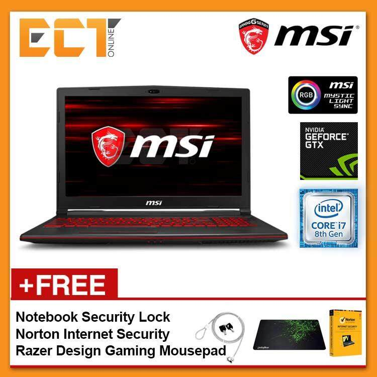 MSI GL63 8RC-252 Gaming Laptop (i7-8750H 4.10GHz,1TB,4GB,GTX1050-4G,15.6 FHD,W10P) Malaysia