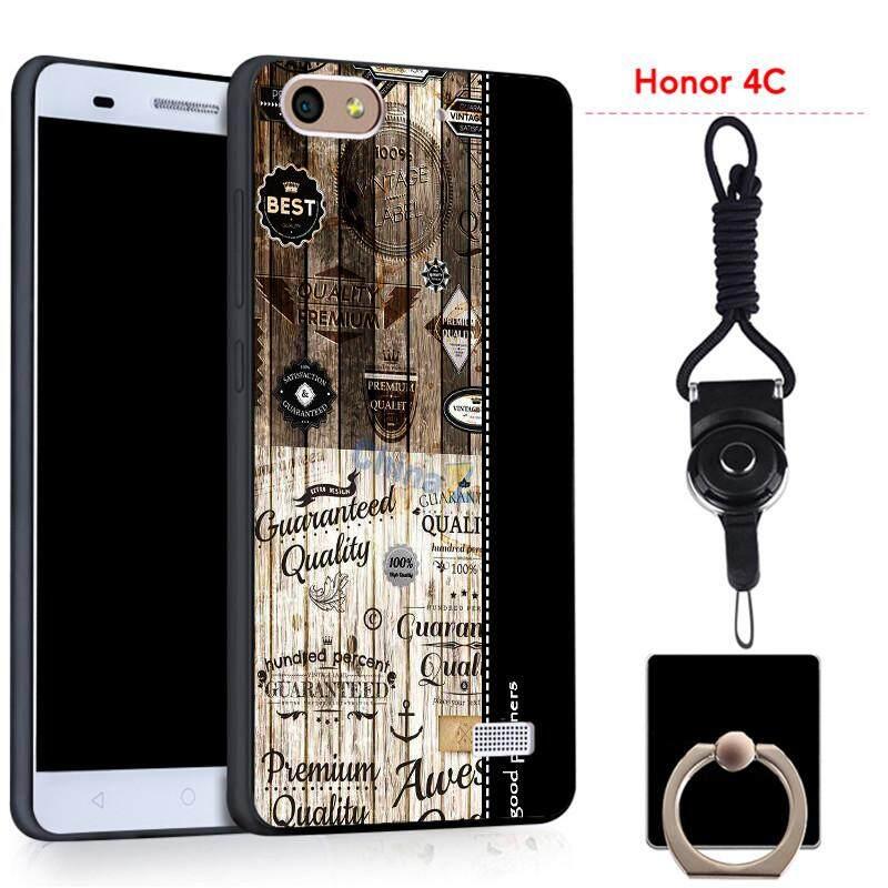 Untuk Huawei Kehormatan 4C Silica Gel Casing Lembut Ponsel dengan Cincin dan Tali