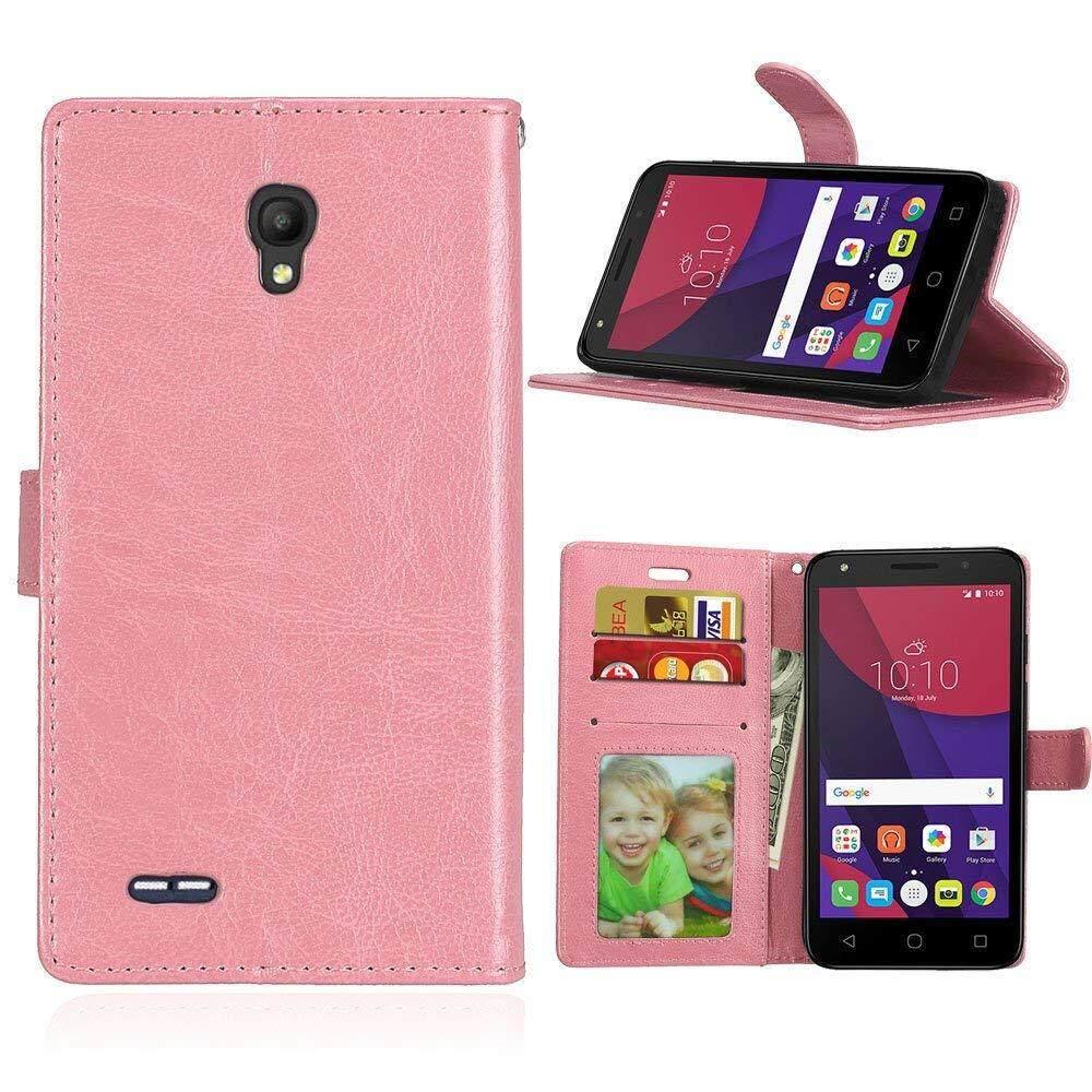 Untuk Alcatel Go Play (5.0) Case [Pink] [PU Kulit] dan [TPU] Dompet, slot Kartu, Berdiri, Bingkai Foto Casing untuk Alcatel Pergi Bermain (5.0)