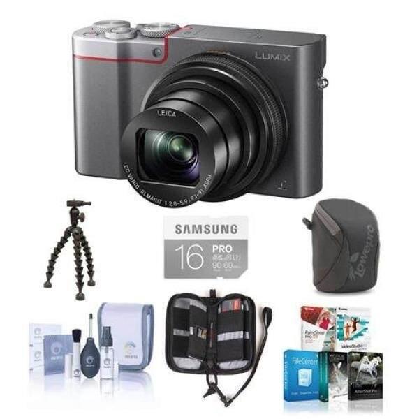 Adorama Panasonic Lumix DMC-ZS100 Kamera Digital 20.1MP Perak-Bundle dengan 16 GB CLASS 10 SDHC Kartu camera Case, Peralatan Pembersih Memori Dompet Hotshot Flexpod Pro, Paket Perangkat Lunak