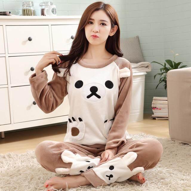 6e1d841c0f Women s Flannel Fabric Nighty Sleepwear Cute Pattern Autumn   Winter Ladies  Long-sleeve Pajamas Nightwear