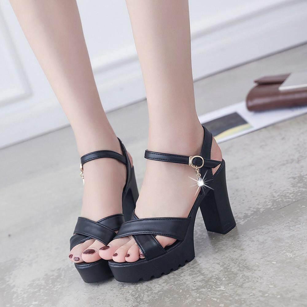 3b6094668 Women Fish Mouth Platform High Heels Wedges Sandals Buckle Slope Sandals