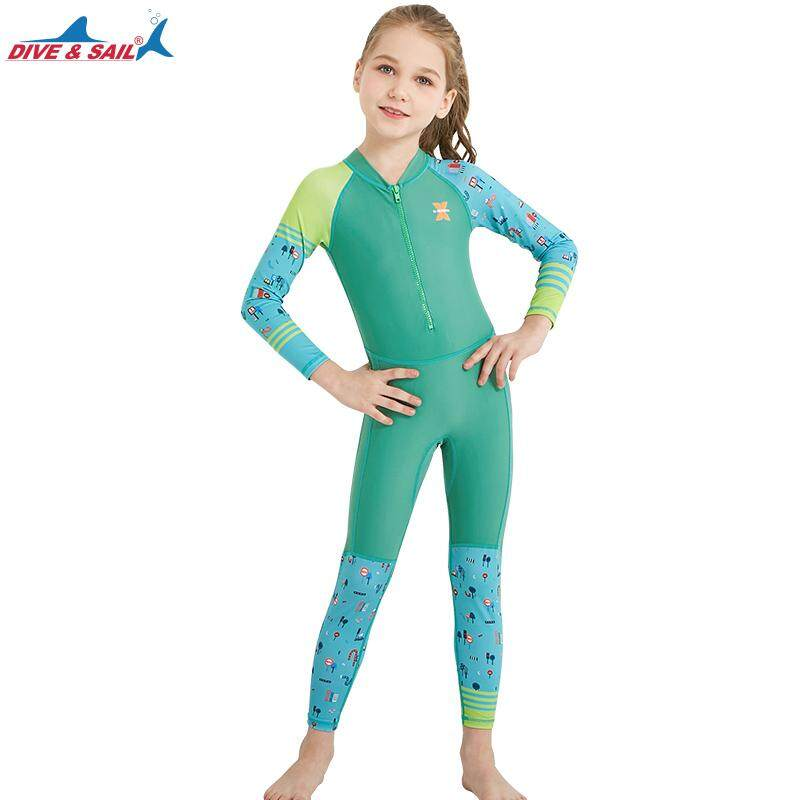 Wetsuit Dive&sail Pink Neoprene 2.5mm Full Wetsuit Kids Long Sleeve Swimwear Girl Rashguard For Children Diving Suit Childrens Wet Suit