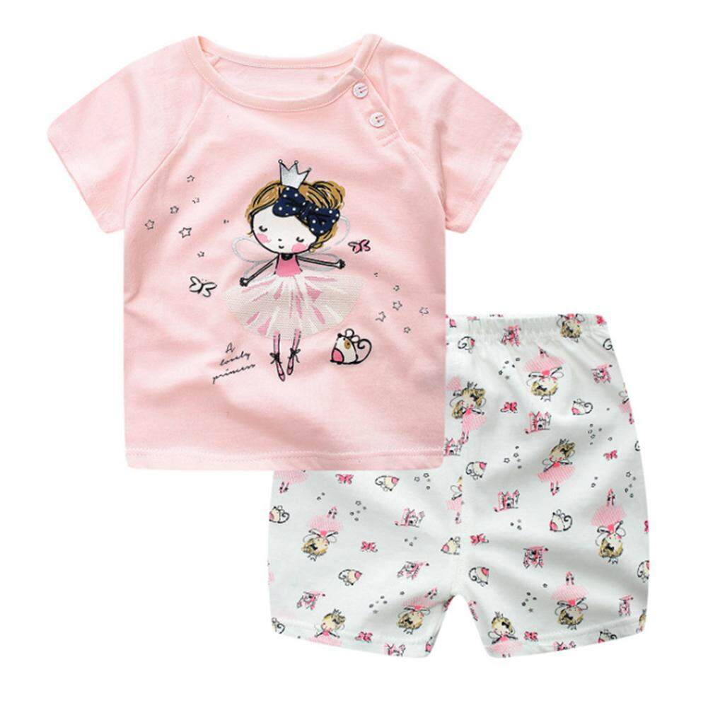 Kidlove 2 Pcs Anak-anak Pakaian Bayi Set Kartun Kaus + Celana Pendek Set-