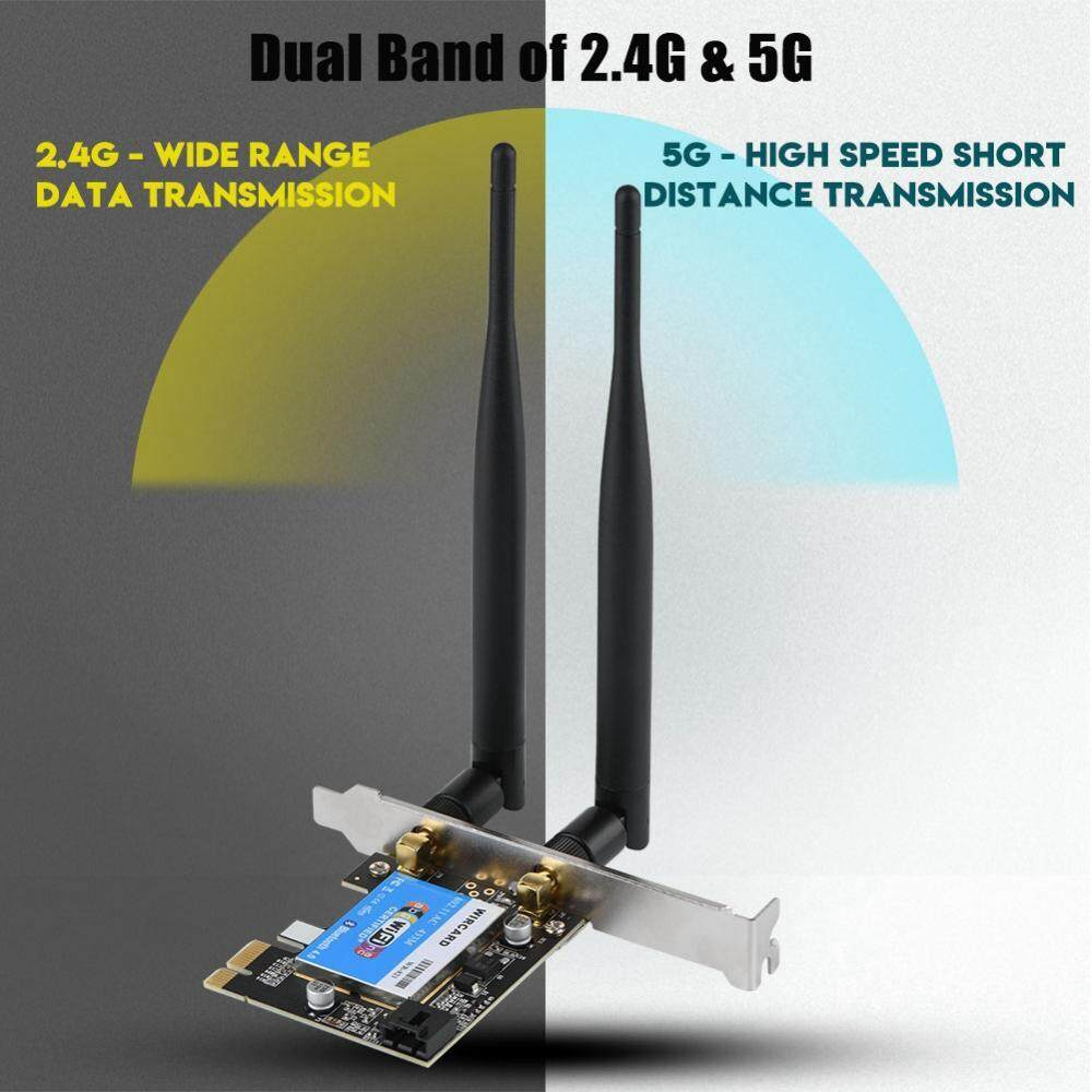 Hình ảnh 433Mbps PCIE Network Card Dual Band 2.4G/5G + Bluetooth 4.0 Network Card for Desktop