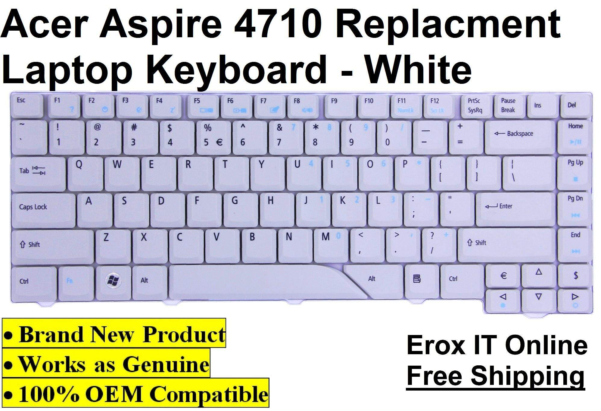 Acer Aspire 4310 Replacement Laptop Keyboard /Acer 4710 Laptop Keyboard (White) Malaysia