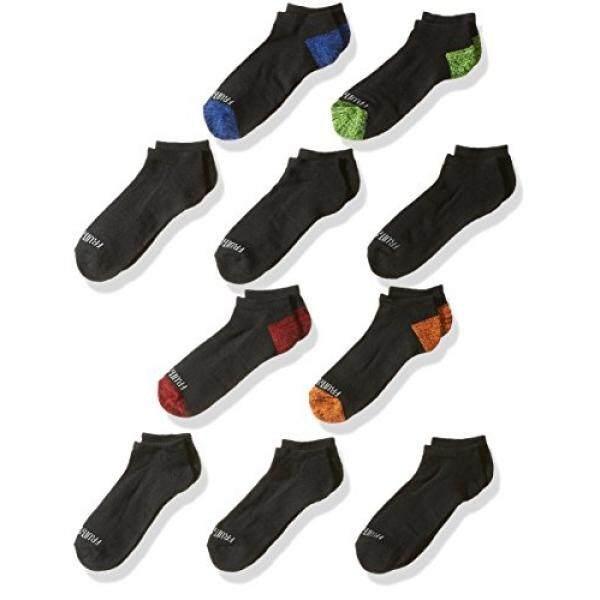 Fruit of the Loom Big Boys 10-Pair Half Cushion No Show Socks, Black Assort, Shoe Size: 3–9 - intl