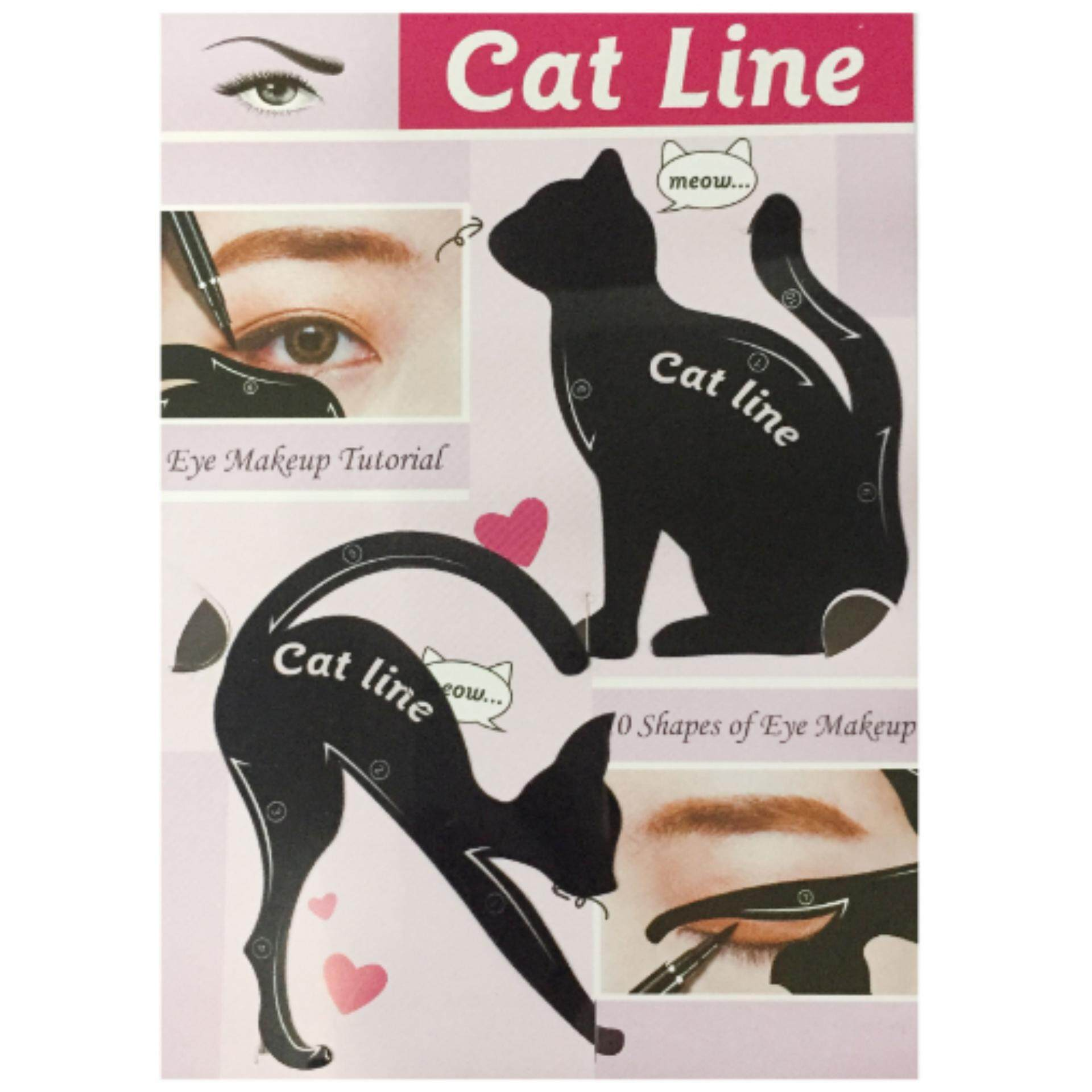Kucing Line Eye Makeup Alat Eyeliner Stensil Template Shaper Model Qty: 2 Set-Intl