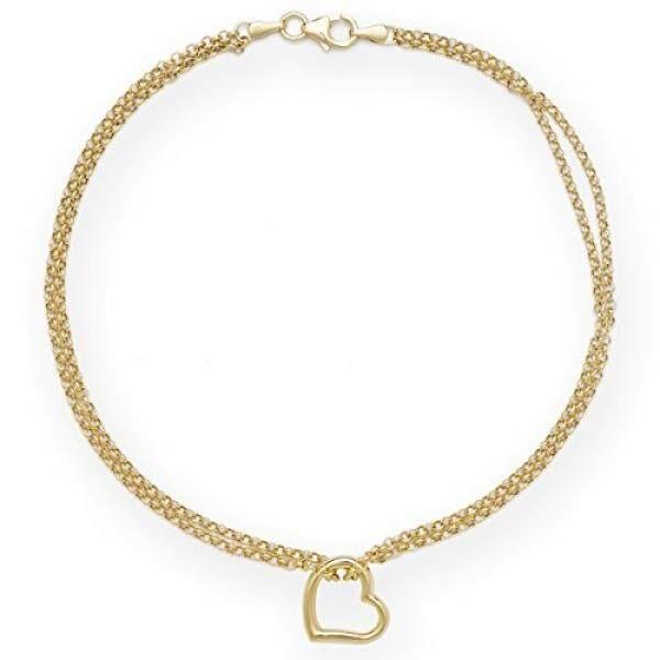 Solid 10 K Gold 10 Inci Bentuk Bebas Jantung Pergelangan Kaki Gelang Wanita-Intl