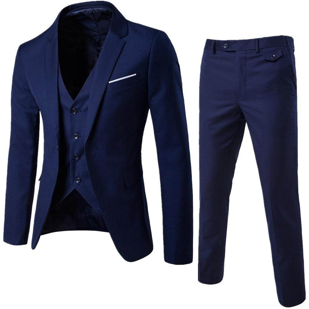 50f4b6f847 Business Formal Leisure Dress Slim Fit Waistcoat Three-piece Groom Best Man  Suit