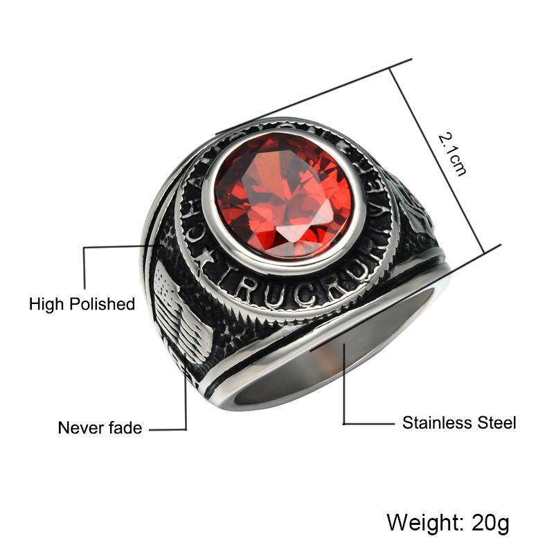 Detail Gambar Kemstone Anti Karat Bertatahkan Cincin Merah Kristal Retro Gaya Perhiasan untuk Pria Terbaru