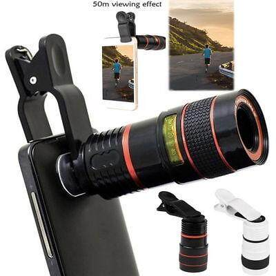 Universal Clip 8X Zoom Magnifier Optical Zoom HD Telescope Camera Lens