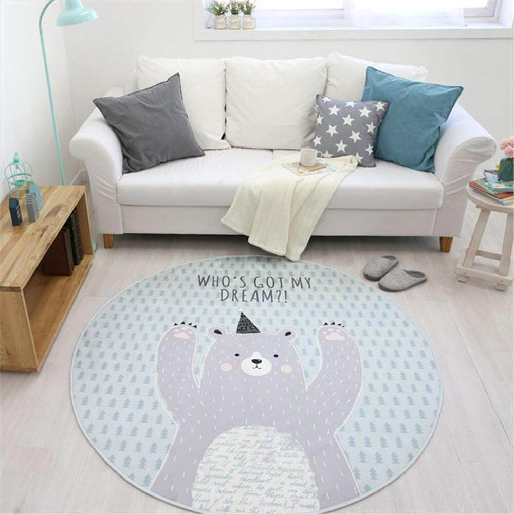 Easybuy 80cm White Bear Round Shape Mat Nordic Style Door Bath Soft Rug Living Room Kid Baby Playing Crawling Non-slip Carpets - intl