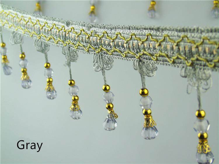 Curtain Tassel Fringe Trim pumpkin Crystal Beaded Ribbon For Sewing Curtain Accessories Lace Decoration12Meters/lot 7.5CM Width - intl