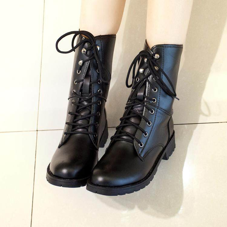 Womens Fashion Boot Stall Boots Platform Top Boot Martin Boots Women Thick Double Buckle Elastic Martin Ankle Boot By Anron C.