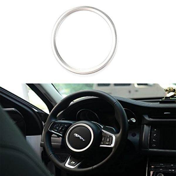TK-KLZ for Jaguar XE XFL F-PACE F-TYPE/XF 2015-2018 Premium Aviation Aluminum Alloy Car Steering wheel decoration ring sticker Decals (Silver)