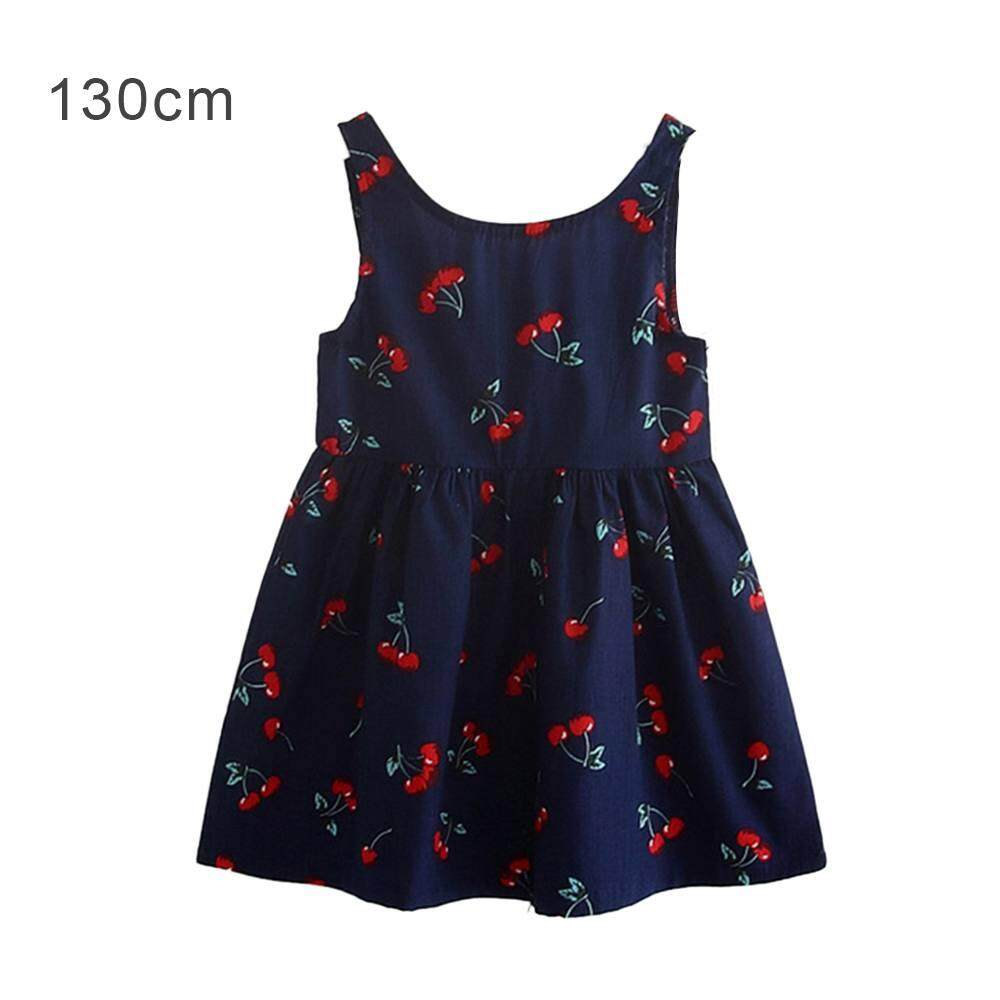Menginap Pakaian Anak-anak Musim Panas Cherry Gadis Baru Versi Korea dari Gaun Harness-