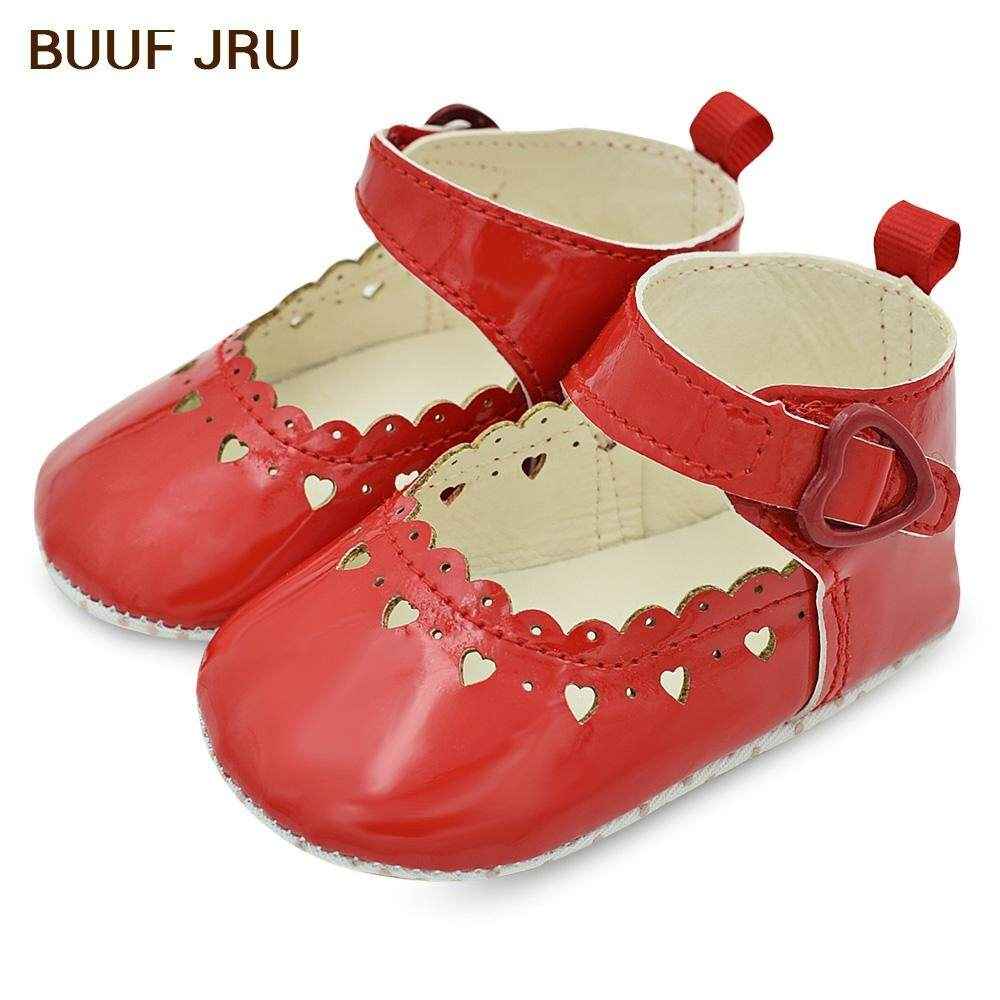 BUUF JRU PU Leather Baby Girls Soft Soled Non-slip Footwear Hollow Out Heart Print Toddler Shoes