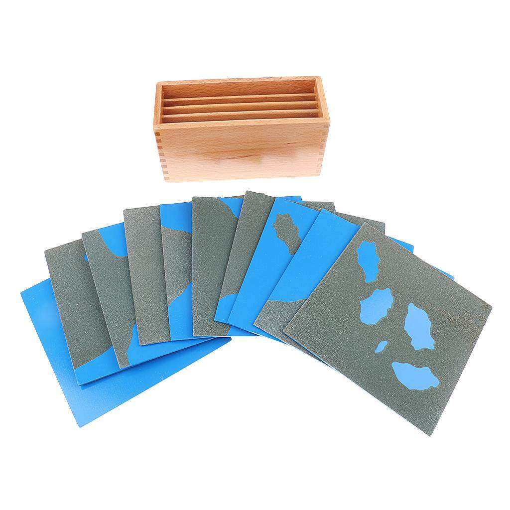 Magideal Montessori Geography Material - Sandpaper Land&water Form Cards For Kids Preschool Learning Teaching Toy By Magideal.