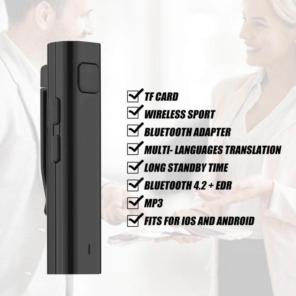 Translation Earphone Stereo Headset Multi-Language Translation Bluetooth Receiver for Business Learning Travel Black - intl