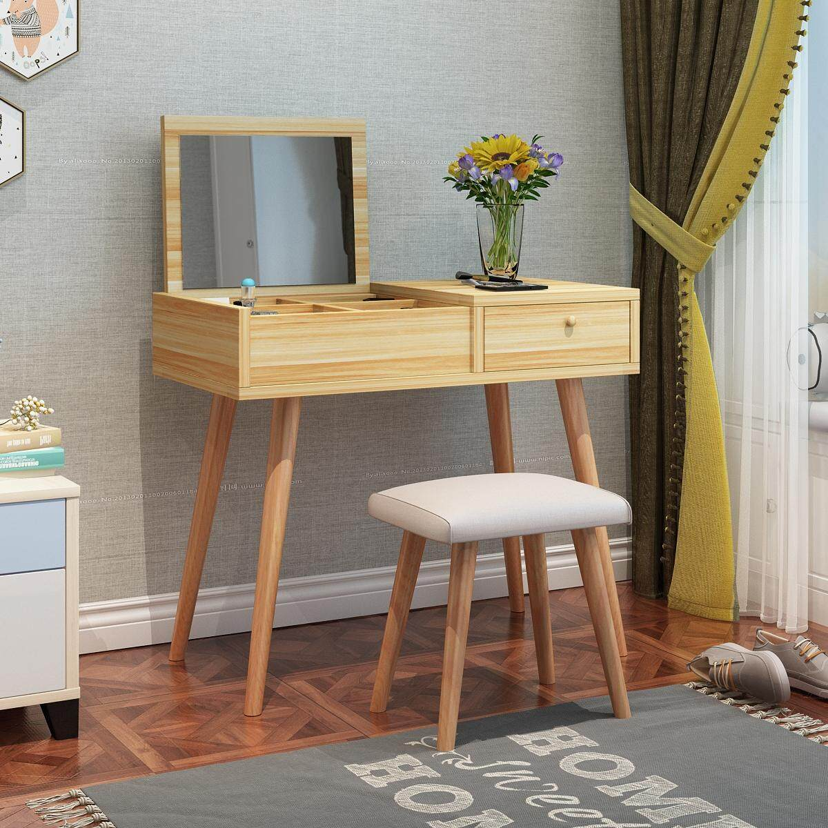 Dressing Table Solid Wood European Bedroom Dressing Table with Stool, Princess Makeup Cabinet Luxury flip Small Dressing Table