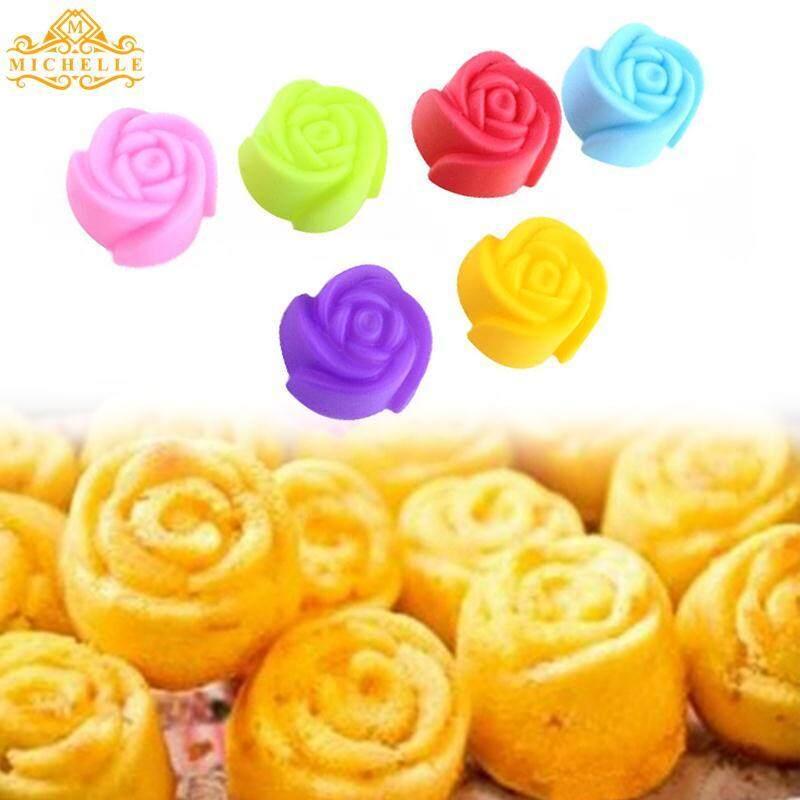 Bunga Mawar Silikon Kue Cetakan Cokelat Pan Cangkir Muffin Cetakan Sabun Sugarpaste
