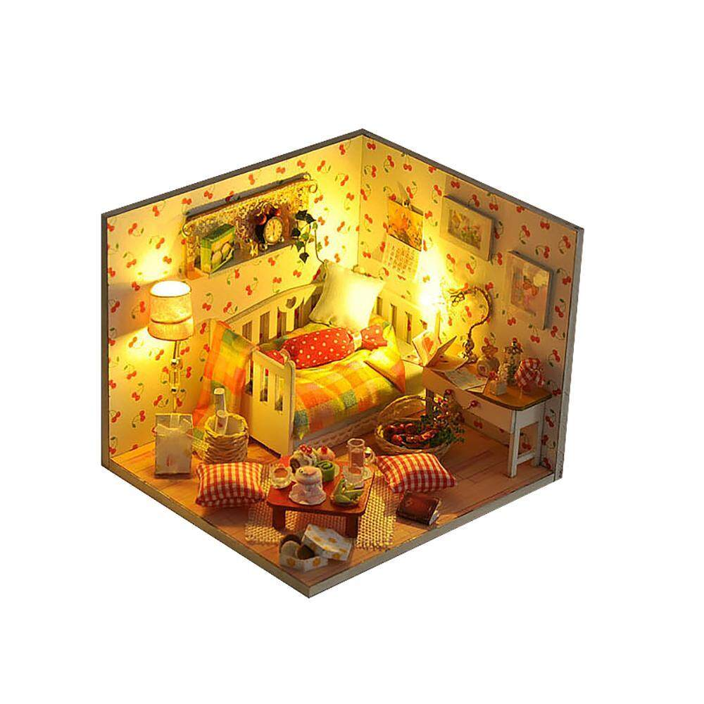 cusepra Miniature DIY Wooden Dollhouse Mini Creative Room Model With Furniture, Accessories Kits Gift Idea For Birthdays Valentine's Day,with Led Light(D) - intl