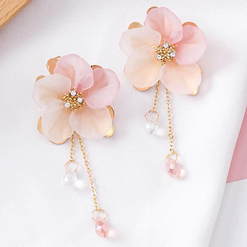 1 Pasang Wanita Acrylic Rantai Panjang Anyaman Anting-Anting Bunga Drop Liontin Kristal Rumbai Perhiasan