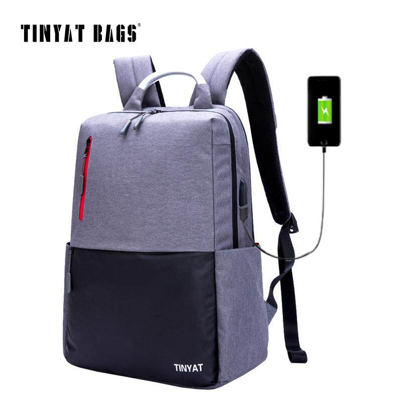 TINYAT Mens 15.6inch Laptop Backpack Computer USB charge Mochila School Backpack For Teenagers Male Gray Canvas Bagpack T811 - intl